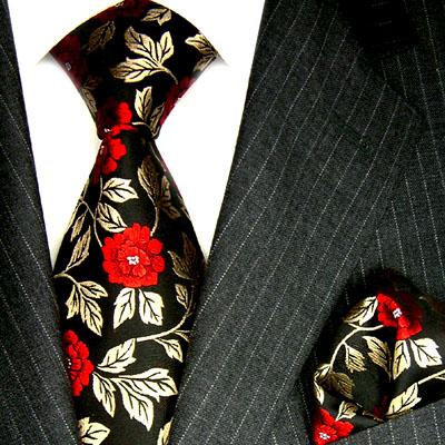 8424401 LORENZO CANA Set - Krawatte + Tuch Rot Rosen Schwarz Hochzeit