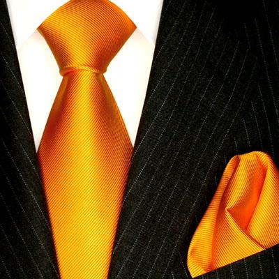 8424601 LORENZO CANA Orange Uni Seiden Krawatte mit Tuch Silk Neck Tie