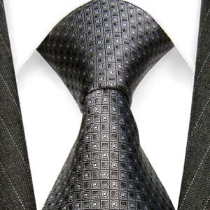 84248 LORENZO CANA Designer Krawatte Punkte Dunkelgrau Anthrazit Seide