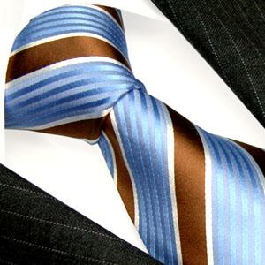 84256 LORENZO CANA Business Krawatte Seide mittelblau braun Streifen