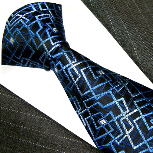 84264 Krawatte Seide Schlips blau LORENZO CANA Blue Silk Neck Tie