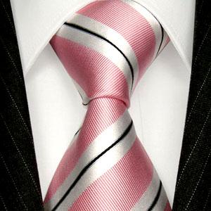84266 LORENZO CANA Krawate Rose Weiss Streifen 100% Seide イタリアのシルクネクタイ