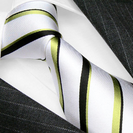 84267 LORENZO CANA Krawatte Seide weiss gruen hellgruen dunkelgruen