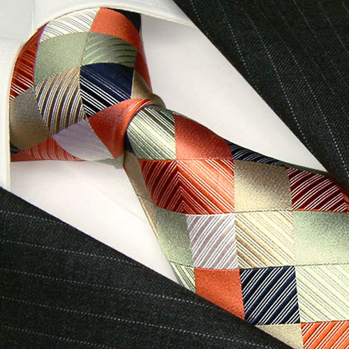 84268 LORENZO CANA Karo Krawatte Seide braun beige lachs Silk Necktie