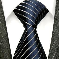 84270 LORENZO CANA Streifen Krawatte Binder Seide Marineblau Blau