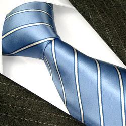 84275 LORENZO CANA Luxus Krawatte blau hellblau weiss Streifen Seide