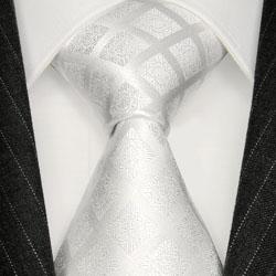 84277 LORENZO CANA weisse Krawatte Hochzeit Karo Ton in Ton Schlips