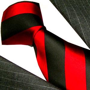 84278 LORENZO CANA rot schwarz Krawatte Streifen italian silke slips