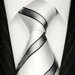 84279 weiss silber Streifen Krawatte Seide Streifendesign LORENZO CANA