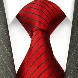 84280 rote Seidenkrawate Krawatte Seide Schwarze Streifen LORENZO CANA