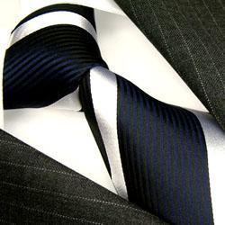 84286 dunkelblaue Streifen Krawatte Seide Streifendesign  LORENZO CANA