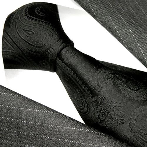 84292 lorenzo cana design cravate de luxe 100 soi noir paisley neuf ebay. Black Bedroom Furniture Sets. Home Design Ideas