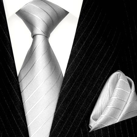8429402 LORENZO CANA Graue Krawatte Seide Einstecktuch Silk Tie Set