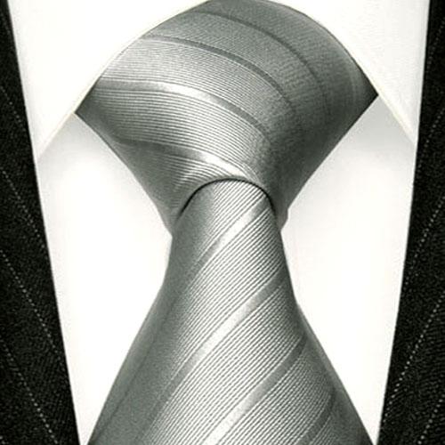 84294 LORENZO CANA Krawatte grau silber silbergrau Uni Streifen Seide