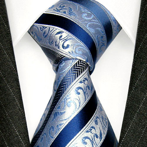 84298 LORENZO CANA blau silberne Krawatte Seide Streifen Blue Silk Tie