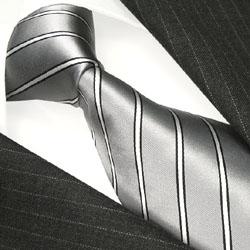 84304 silber grau weisse Streifen Krawatte 100% Seide LORENZO CANA