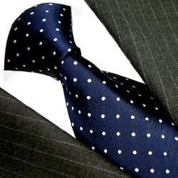 84305 Blaue Krawatte Weisse Punkte Seidenkrawatte LORENZO CANA blue tie