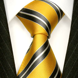 84309 Krawatte Seide Gelb Grau LORENZO CANA cravate en soie italienne