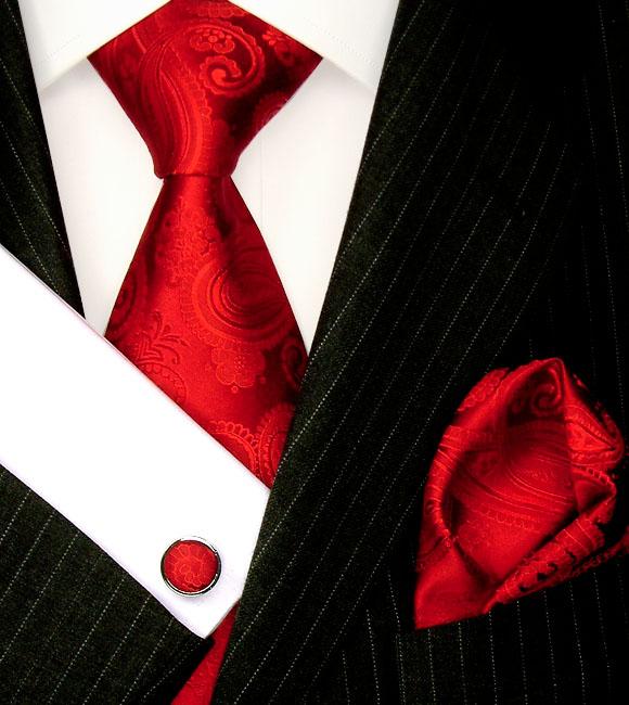 8431205 Rot Paisley Krawattenset Stecktuch Knöpfe LORENZO CANA Red Tie