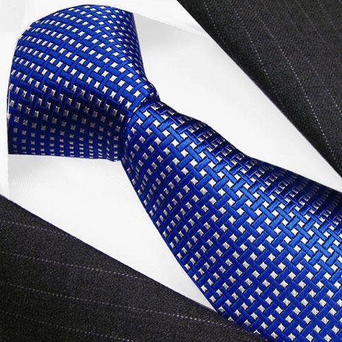 84317 LORENZO CANA Luxus Krawatte blau weiss Karos Punkte 100 % Seide