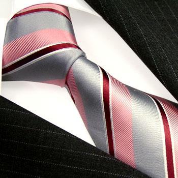 84318 LORENZO CANA Krawatte gestreift rose silber rot Seide Streifen