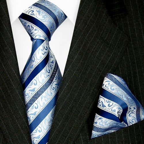 84323 LORENZO CANA Set Krawatte + Einstecktuch Tuch Blue Silk Tie Set