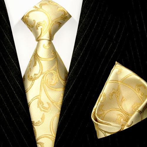 84335 LORENZO CANA festliches Hochzeit Krawattenset Seide Ivory Gold