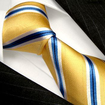84338 gold blaue Streifen Krawatte Seide LORENZO CANA галстук шелка