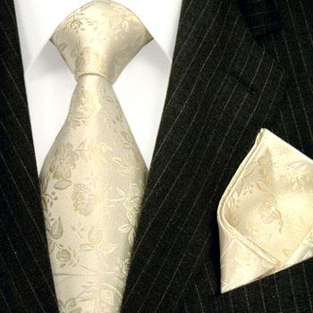 84347 LORENZO CANA Ivory Rosen Krawatte Seide Einstecktuch Hochzeit