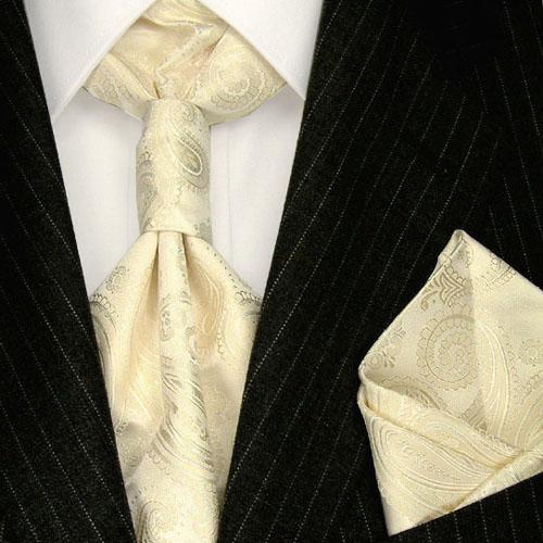 84351 LORENZO CANA Ivory Plastron und Einstecktuch 100% Seide Hochzeit