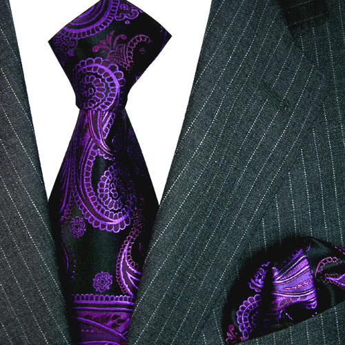 8435803 LORENZO CANA edles Krawattenset aus Seide Einstecktuch Violett