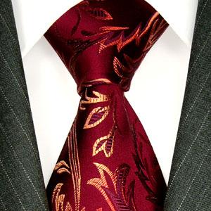 84377 Floral Barock Blume Ranken Krawatte LORENZO CANA Red Neck Tie