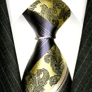 84383 Grün Silber Streifen Krawatte Seide Streifendesign  LORENZO CANA