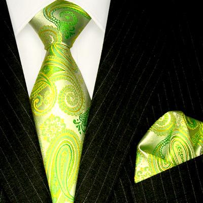 8439001 LORENZO CANA Krawatte + Tuch Seide grün gelbgruen chlorophyll