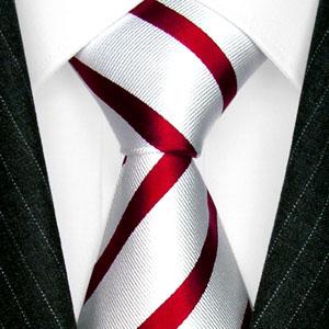 84405 LORENZON CANA weiss rot gestreift Binder Krawatte 100% Seide Neu