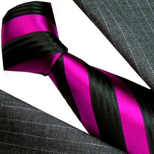 84432 LORENZO CANA Krawatte violet schwarz beere Seide галстук шелка