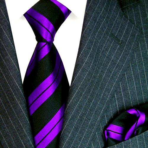 8443902 LORENZO CANA Krawatte Einstecktuch Seide Lila Violett Schwarz