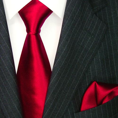 8445001 LORENZO CANA uni rote Krawatte Satin Seide Uni Tuch Red Tie