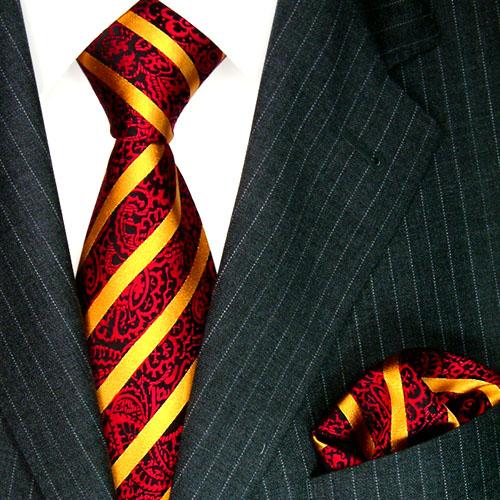 8445201 LORENZO CANA Streifen Krawatte + Einstecktuch Rot Schwarz Gold