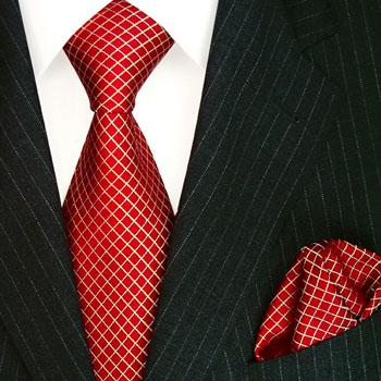 8446801 LORENZO CANA Krawatte Stecktuch Seide Checkered Red Silk Tie