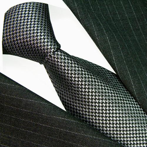 84474 Krawatte Silber Schwarz 100% Seide LORENZO CANA Hahnentritt
