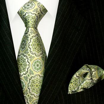8448001 florale lindgrüne Krawatte Einstecktuch LORENZO CANA