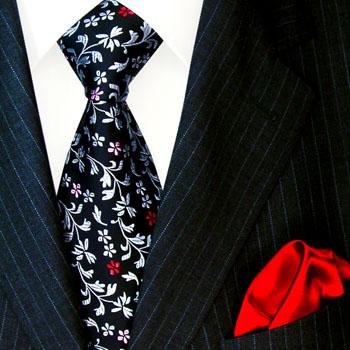 8448101 LORENZO CANA Blumen Krawatte Einstecktuch Schwarz Rot Necktie