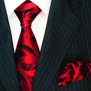 8448501 LORENZO CANA Krawattenset Einstecktuch Schwarz Rot Paisley