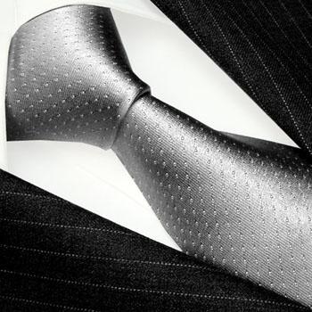 84494 Lorenzo Cana Krawatte Seide Silber Grau kleine weisse Punkte