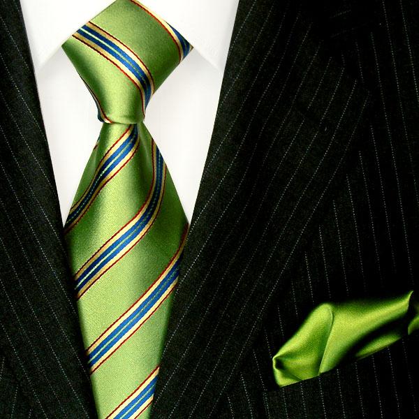 8450301 lorenzo cana gr ne gestreifte krawatte mit einstecktuch gr n t rkis lila ebay. Black Bedroom Furniture Sets. Home Design Ideas