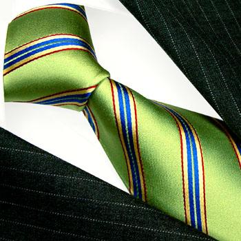 84503 LORENZO CANA Krawatte 100% Seide Rot Grün Blau Gold Streifen Neu