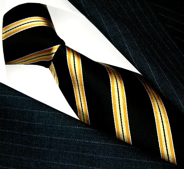 84507 lorenzo cana krawatte mit streifen 100 seide gelb. Black Bedroom Furniture Sets. Home Design Ideas