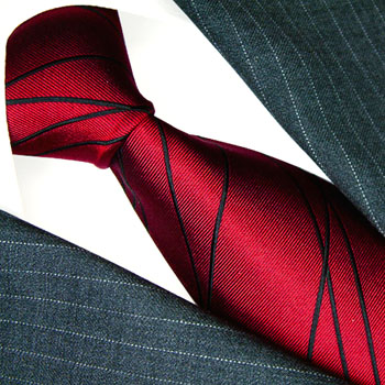 84509 LORENZO CANA Luxus Krawatte 100% Seide Rot Schwarz Streifen