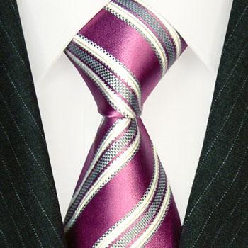 84511 LORENZO CANA Krawatte 100 % Seide gestreift rosa weiss violett